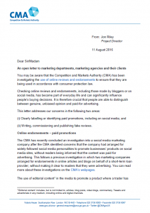CMA open letter